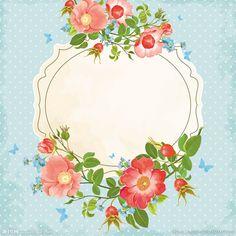 矢量复古手绘花朵边框背景