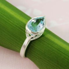 Sterling Silver Pear Blue Topaz Ring by tooriginal on Etsy, $49.00