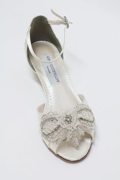 Wedding Wedge Shoes *Dyeable Satin *Handcrafted embellishment with crystals and beads Adjustable ankle strap with crystal buckle Heel Approx. 1