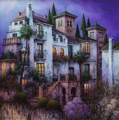 LUIS ROMERO American Realism, Colored Pencil Techniques, Fantasy City, Cottage Art, Unique Paintings, Oil Paintings, Spanish Artists, Naive Art, Christmas Paintings