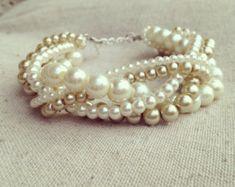 Braided cuff ivory pearl bracelet bridesmaids bracelet