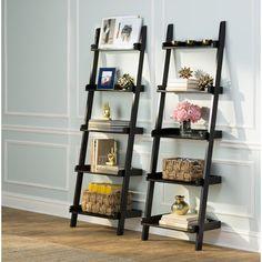 "Brayden Studio Eustis 75.25"" Leaning Bookcase & Reviews | Wayfair"
