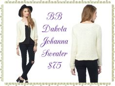 "BB Dakota Johanna Sweater:  The Johanna Sweater from BB Dakota features a cozy and fuzzy texture. A tulip hem gives it a clean finish. 21 ¾"" length. 100% Polyester Hand Wash or Dry Clean.   Available size XS-L"