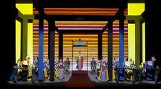 Jun Kaneko, The Magic Flute, Scale Model with Set Projection, 2011 Theatre Design, Stage Design, Lyric Opera, The Magic Flute, Jack In The Box, Theatre Stage, Design Research, Stage Set, Scenic Design