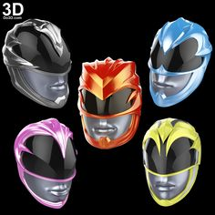 3D Printable Model: Power Rangers New 2017 Helmets (Red, Blue, Black, Yellow, Pink) | Print File Format: STL – Do3D.com