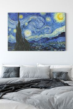 """""""Starry Night"""" one of the most famous paintings by the Netherlands post-impressionist painter Vincent Van Gogh. It depicts a view from the east window of Van Gogh's bedroom in Saint-Remy-de-Provence, the pre-dawn sky, as well as a fictional village.  This masterpiece would become a marvelous addition to your living room or bedroom and matches both modern and classic interiors. Canvas Art Prints, Starry Night, Most Famous Paintings, Painting, Starry, Art, Post Impressionists, Canvas Art, Starry Night Van Gogh"""