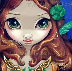 Faces of Faery 72 lucky irish redhead big eye fairy by strangeling, $13.99