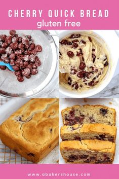 A recipe for gluten free Cherry Quick Bread or traditional cherry quick bread can be made in a loaf pan or in muffins tins. Baking with frozen cherries makes this an easy recipe for any time of year. Cherry Recipes Baking, Cherry Recipes Gluten Free, Cherry Recipes Healthy, Cherry Desserts, Gluten Free Baking, Gluten Free Desserts, Fruit Recipes, Dessert Recipes, Gf Recipes