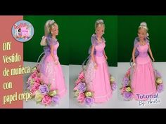 Doll for centerpiece or cake cap of 15 years. Diy Vestido, Candy Crafts, Crepe Paper Flowers, Candy Bouquet, Sweet 16 Birthday, Prom Dresses, Formal Dresses, Quinceanera, Diy Clothes