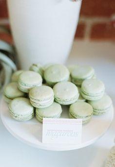 Dessert Bar Inspiration: Mint green macarons-wedding dessert table inspiration #macarons #dessert #wedding