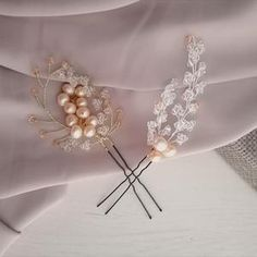 Aria Pearl Hairpins – Alexandra Bespoke Pearl Hair Pins, Circlet, Bridal Accessories, Hair Pieces, Fresh Water, Swarovski Crystals, Plating, Pearls, Boho