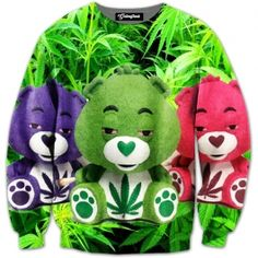 These high care bears got into their owner s stash  Roll up the marijuana with these teddy bears and smoke the highest quality weed on the market   Our full print crewneck sweatshirts are uniquely crafted using a special sublimation technique to tran