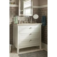 Shop allen + roth Norbury 36-in x 22-in White with Weathered Edges Undermount Single Sink Bathroom Vanity with Engineered Stone Top at Lowes.com