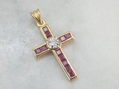 Hey, I found this really awesome Etsy listing at https://www.etsy.com/listing/256549896/ruby-and-diamond-cross-in-modern-gold