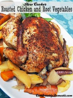 Crockpot Roasted Chicken and Root Vegetables | ComfortablyDomestic.com 7.5 hr slow cooker recipe...i love turnips
