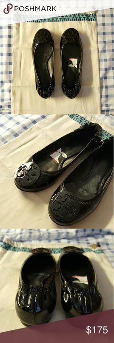 [Tory Burch] Reva Flats New unused, features tory burch logo Black patent Size 5.5 Includes dust bag Authentic, bought at Nordstrom  Offers welcome.  My husband bought me a too small 5.5 and I kept them in my closet cuz he threw out the receipt. He tried... lol it was a nice surprise but its better if i sell and get something ill use. Tory Burch Shoes Flats & Loafers