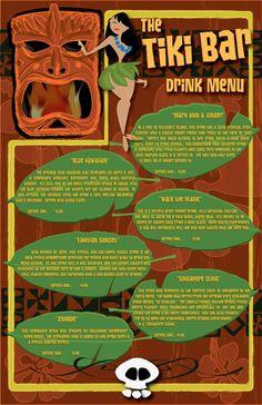 Ground Control to Major Tom. Drink Menu, Bar Drinks, Yummy Drinks, Beverages, Tiki Art, Tiki Tiki, Mary Ann And Ginger, Vintage Tiki, Homemade Art
