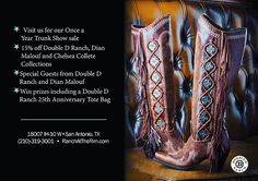 Get excited....four days left until the Trunk Show with @dianmalouf and @ddranchwear !!! We are counting down the days until the awesome deals, delicious drinks, and tasty snacks are here! Don't miss out on 15% off BOTH of these vendors! #dianmalouf #jewelry #Texasjewelry #westernwear #doubledranchwear #cowboyduds #trunkshow2015