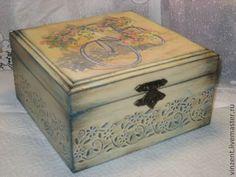 """A.Купить Шкатулка для чая """"Море цветов"""" - голубой, шкатулка декупаж, шкатулка деревянная, шкатулка для чая"""