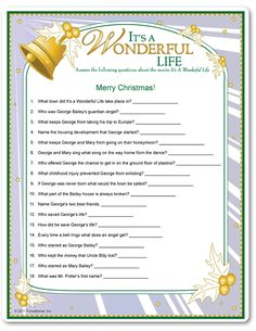Printable It's A Wonderful Life Trivia Game - Easy Version
