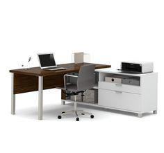 Premium Modern L-shaped Desk in Oak Barrel & White