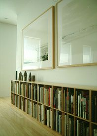 large photographs + low bookshelves