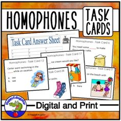 Homophones Task Cards. 32 multiple choice cards in the set with Easel Activity and Assessment. Each card has a different pair of homophones. Use these task cards in your literacy centers, in small groups, or individually to support correct usage of these commonly confused words. There are thirty-two... Commonly Confused Words, Easel Activities, Multiple Choice, Literacy Centers, Task Cards, Small Groups, Assessment, Homeschool, Encouragement