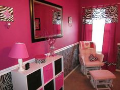 Pink and zebra print room