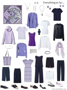 July 2019 - 12 Months, 12 Outfits – based on 6 Hermes Scarves, Summer Outfits, capsule wardrobe in navy and white with shades of purple. Capsule Wardrobe Work, Summer Wardrobe, New Outfits, Summer Outfits, Travel Outfits, Summer Minimalist, The Vivienne, Navy And White, What To Wear