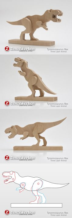 T-Rex, DIY, simplified model, baltic birch plywood - Dez Ka Small Woodworking Projects, Woodworking Crafts, Wooden Art, Wooden Crafts, T Rex Toys, Cnc Maschine, Desktop Cnc, Christmas Wooden Signs, Plywood Projects
