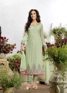 Divine Sea Green Lace Faux Chiffon Decent Indian Salwar Kameez