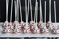Food - This would be a fun dessert for at the buffet or can be passed out after dinner is over. Serve in a cute nautical themed holder. Nautical Cake Pops, Nautical Food, Nautical Party, Baby Cake Pops, Marine Cake, Cake Pop Designs, Marshmallow Pops, Cake Boss, 1st Boy Birthday