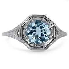 14K White Gold The Lorenza Ring, top view