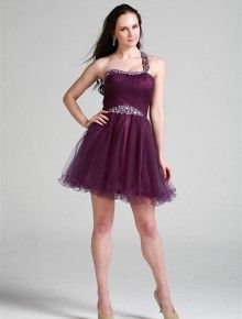 cute one shoulder beading sleevless mini tulle coctail dress