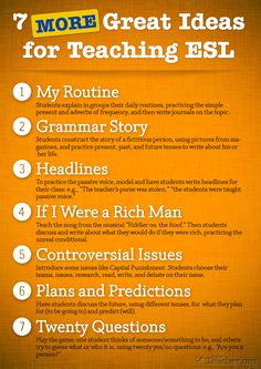 POSTER: 7 MORE Great Ideas For Teaching ESL