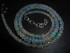 44.75 Cts Top Natural Ethiopian Welo Opal Smooth Rondelle Fire Beads Necklace  #Unbranded