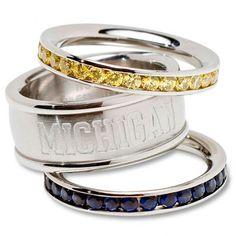 Michigan Wolverines Logo Crystal Stacked Ring Set