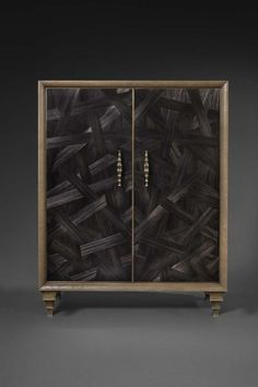 Titan chest with marquetry doors and cast handles, Pinto Paris