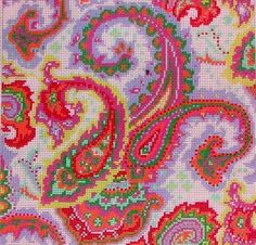 """Hand Painted Needlepoint Canvas by Hendrix. Title: Paisley. Canvas Size: 12""""x12"""". 