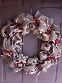 Burlap Christmas Wreath for Front Door Holiday by WeHaveWreaths