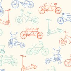 Blue and Orange Bike FLANNEL Fabric, Children At Play Over the Fence By Sarah Jane for Michael Miller, On the Go Bike Print in Aqua, 1 Yard. $6.50, via Etsy.