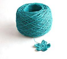 Crochet Thread 3 Ply Linen Thread Blue Green Linen Yarn This listing is for 1…