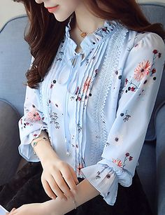 Women's Work Blouse - Floral Stand Blue L / Spring / Fall / Fine Stripe Kurti Neck Designs, Blouse Designs, Sleeves Designs For Dresses, Blouse Models, Work Blouse, Floral Blouse, T 4, Ideias Fashion, Clothes For Women