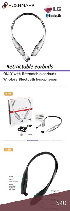 LG TONE INFINIM wireless headset Model HBS-900. Bluetooth headphones with retractable earbuds. See last photo for details. LG Other