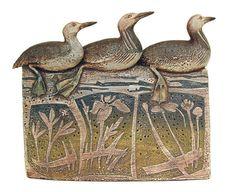 Blandine Anderson - Uist Divers and Midges, stoneware. Ceramic Birds, Ceramic Animals, Ceramic Pottery, Ceramic Art, Bird Sculpture, Animal Sculptures, Pottery Animals, Animal Quilts, Tile Art