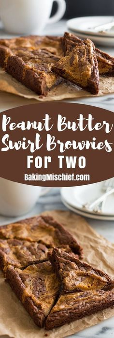 Peanut Butter Swirl Brownies for Two are an easy, perfect small-batch dessert for two. From http://BakingMischief.com