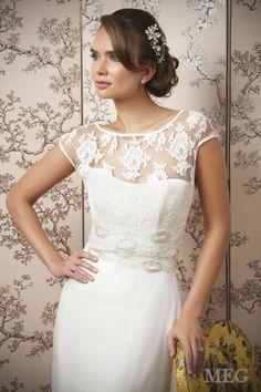Meg. Lace and chiffon wedding dress by Emma Hunt.