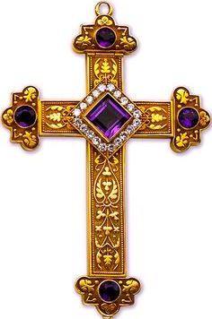 Gold, amethyst  diamond cross, 1911