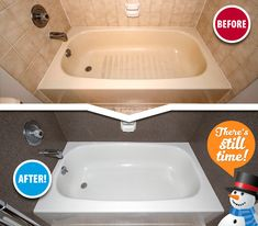Embarrassed by your stained and outdated tub & tile? Miracle Method to the rescue! We transform hundreds of bathtubs each week nationwide, and we can work wonders on yours. Contact us today. Refinished, Tub Tile, Resurface Countertops, Tile Bathroom, Bathroom, Countertops, Refinish Bathtub, Tile Refinishing, Bathtub