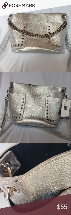 b4e1aa47768 Steve Madden silver purse Silver bucket bag with chain that can be used to  carry and